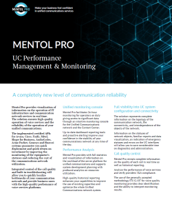UC Performance Management & Monitoring. Solution Brief