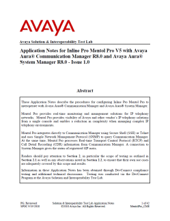 Application Notes for Mentol Pro® with Avaya Aura® CM 8.0